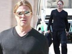 Brad Pitt heads to the studio after supporting fiance Angelina Jolie through double mastectomy ordeal